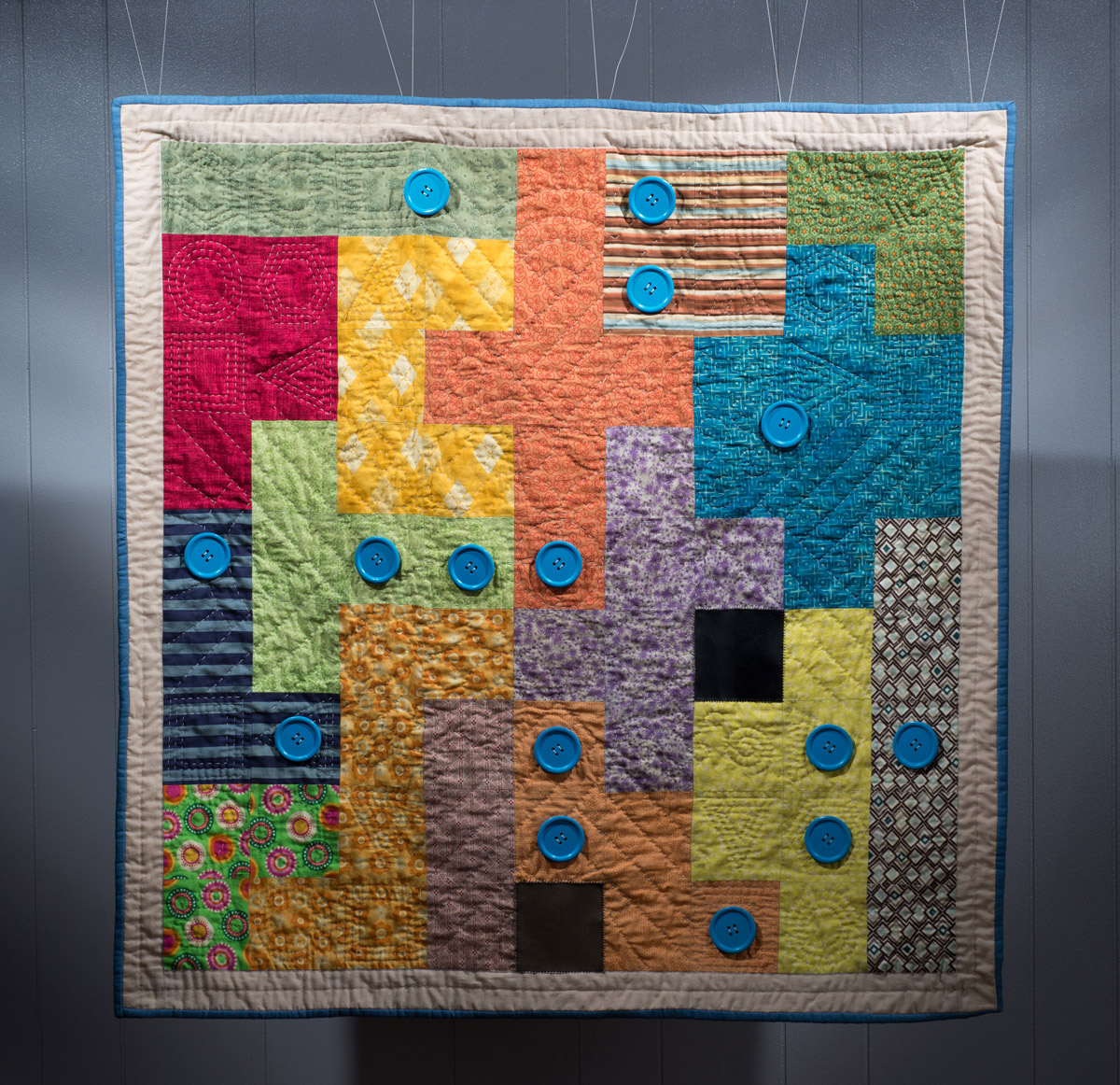 Final quilt based on the board game Patchwork.