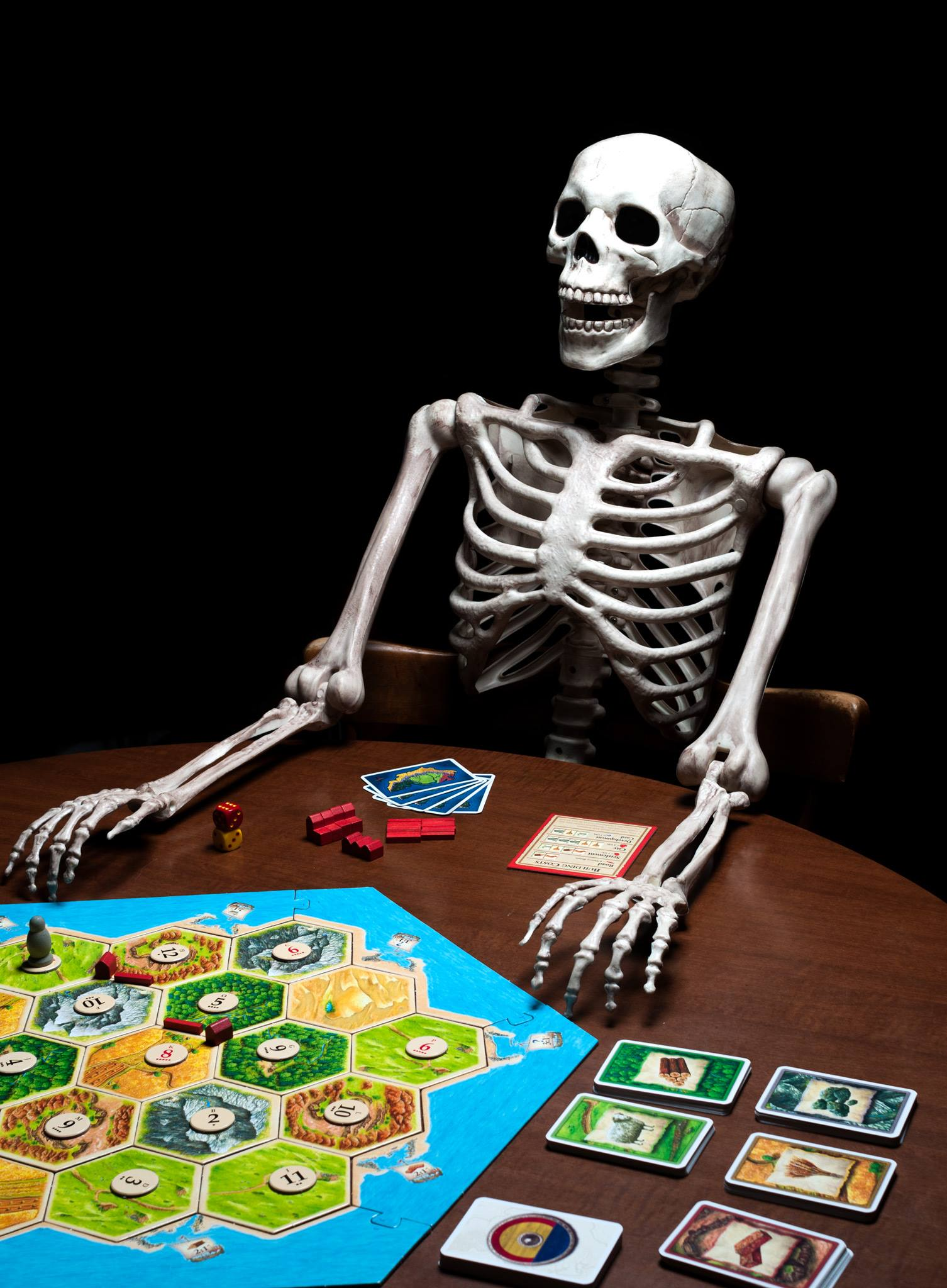 Skeleton playing Catan board game
