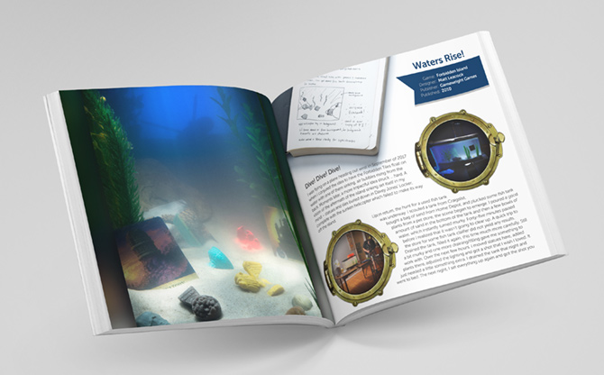BGP photo book page mockup for Forbidden Island